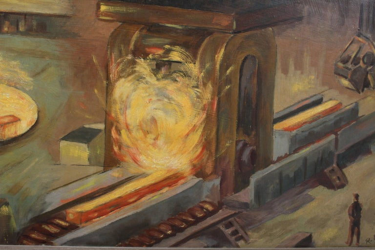 1940s Oil painting of Industrial Interior Scene of Steel Company Blast Furnace For Sale 6
