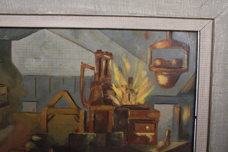 1940s Oil painting of Industrial Interior Scene of Steel Company Blast Furnace For Sale 7