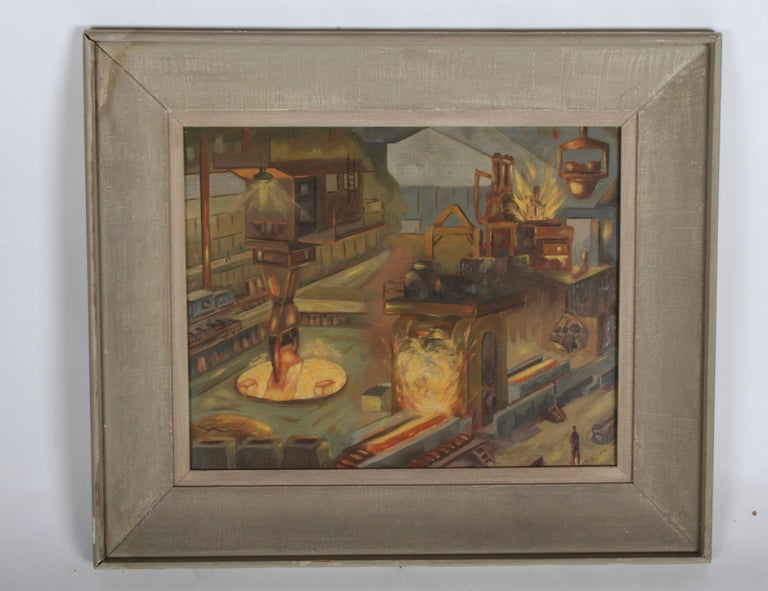 Signed 1940s WPA style Industrial oil painting of Allegheny Ludlum Corporation of Pennsylvania steel refinery blast furnace, architectural rendering depicting the interior layout with workers, cranes, molten steel, fire, conveyor belts, flat train