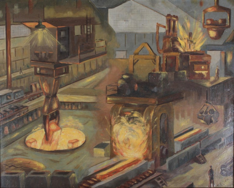 American 1940s Oil painting of Industrial Interior Scene of Steel Company Blast Furnace For Sale