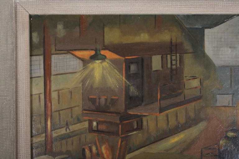 1940s Oil painting of Industrial Interior Scene of Steel Company Blast Furnace In Good Condition For Sale In St. Louis, MO
