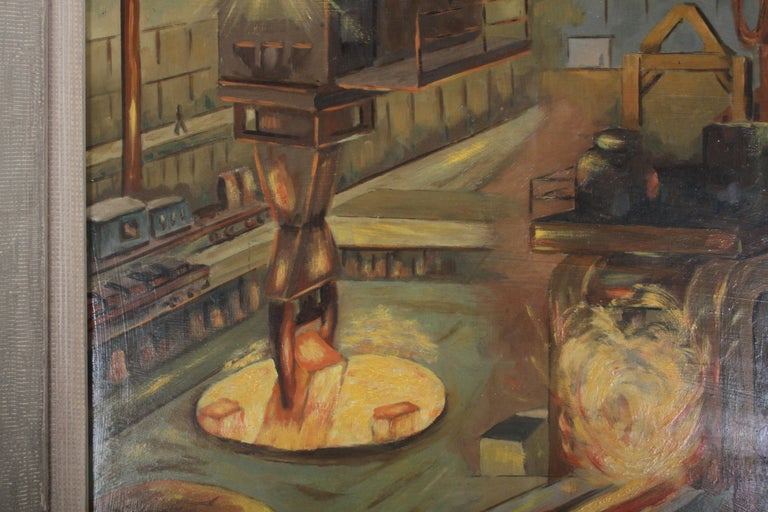Masonite 1940s Oil painting of Industrial Interior Scene of Steel Company Blast Furnace For Sale