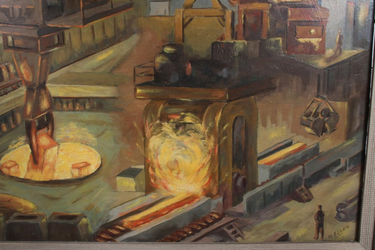 1940s Oil painting of Industrial Interior Scene of Steel Company Blast Furnace For Sale 1