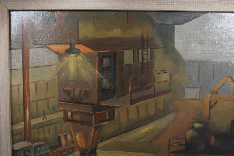1940s Oil painting of Industrial Interior Scene of Steel Company Blast Furnace For Sale 2