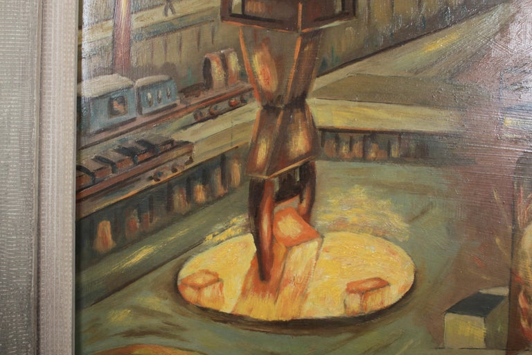 1940s Oil painting of Industrial Interior Scene of Steel Company Blast Furnace For Sale 3