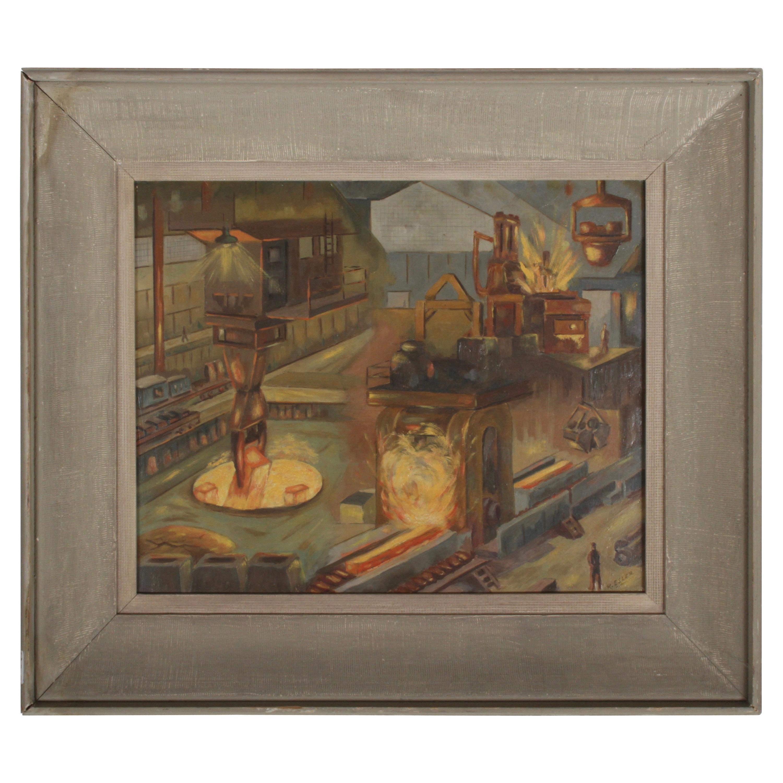 1940s Oil painting of Industrial Interior Scene of Steel Company Blast Furnace