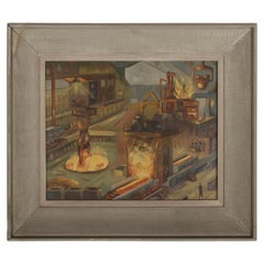 1940s Oil painting of Industrial Interior Scene of Steel Company Blast Furnace