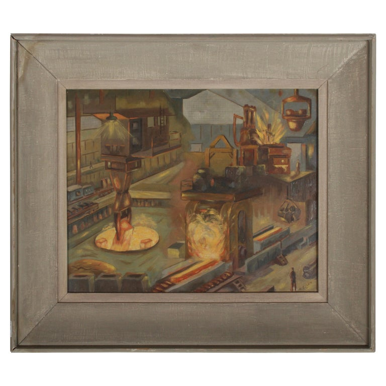 1940s Oil painting of Industrial Interior Scene of Steel Company Blast Furnace For Sale