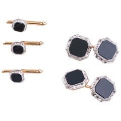 1940s Onyx Cufflink and Tuxedo Stud Set in Platinum and 14 Karat Yellow Gold