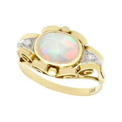 1940s Opal and Diamond Yellow Gold Cocktail Ring