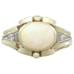1940s Opal and Diamond Yellow Gold Dress Ring