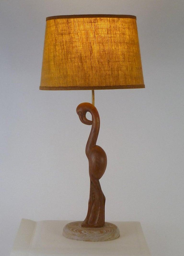 1940s Organic Modern Cerused Oak Flamingo Table Lamp For Sale 6