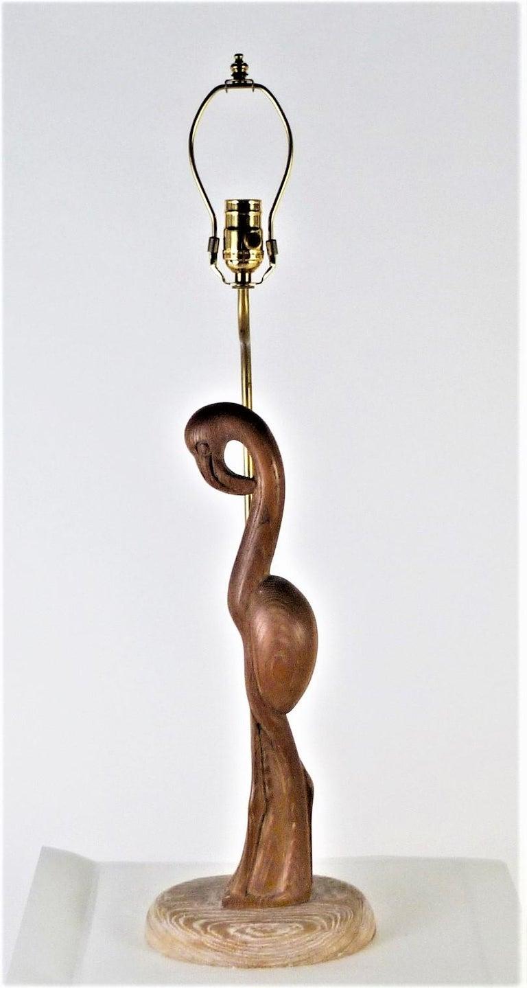 Mid-20th Century 1940s Organic Modern Cerused Oak Flamingo Table Lamp For Sale