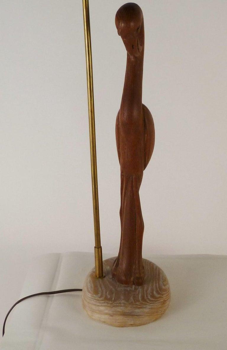 1940s Organic Modern Cerused Oak Flamingo Table Lamp For Sale 2