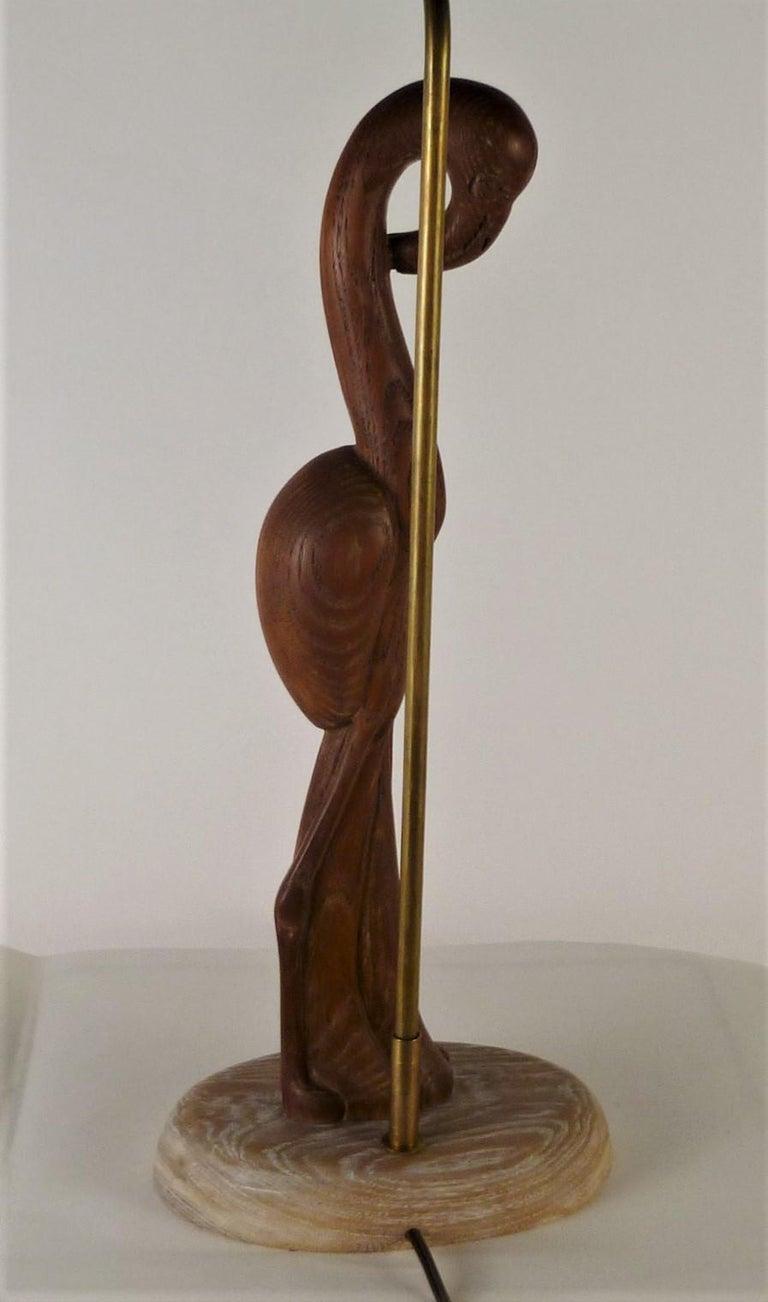 1940s Organic Modern Cerused Oak Flamingo Table Lamp For Sale 3