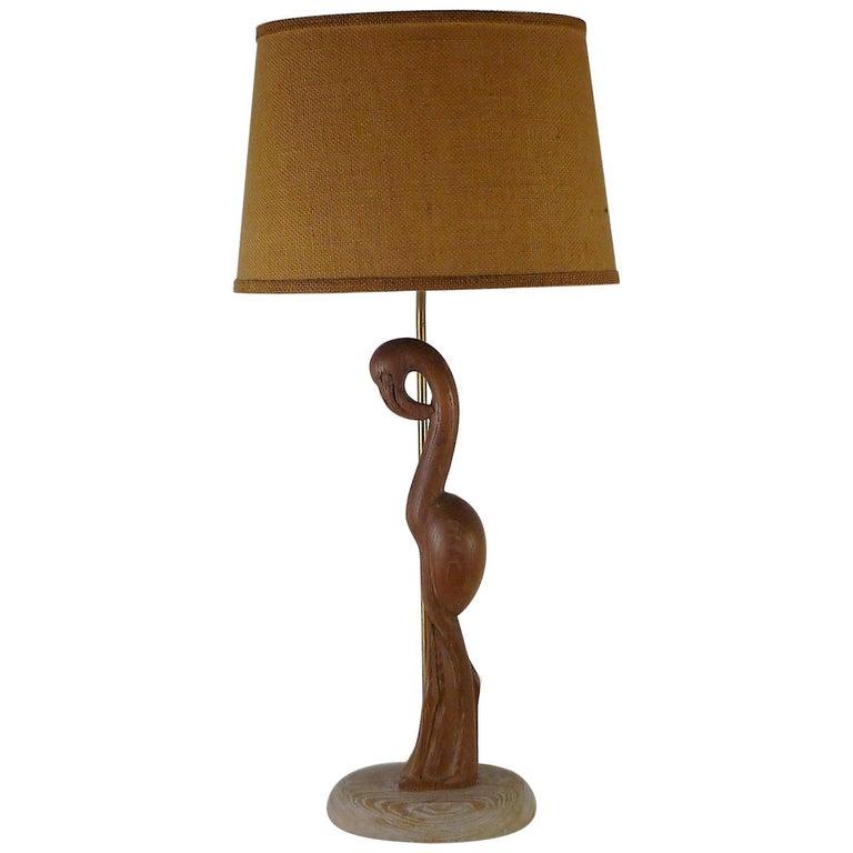 1940s Organic Modern Cerused Oak Flamingo Table Lamp For Sale