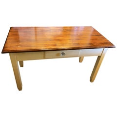 1940's Original Antique Two-Tone Tuscan Rustic Table Poplar Drawer Honey Color