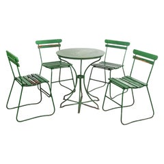 1940's Original French Green Garden Set, Table and Four Chairs