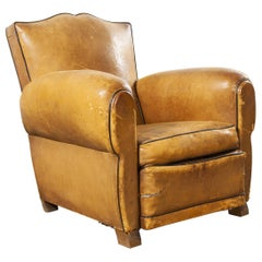 1940s Original French Single Leather Club Armchair