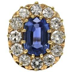 1940s Original Retro Ceylon Sapphire and Diamond Ring