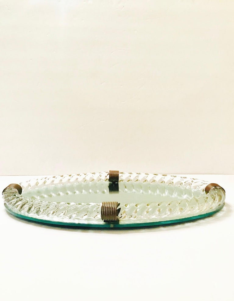 Bronzed 1940s Oval Murano Glass Rope and Mirrored Vanity Tray by Venini For Sale