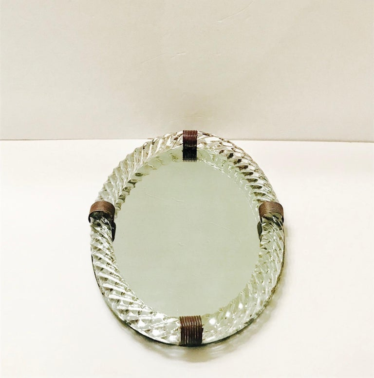 1940s Oval Murano Glass Rope and Mirrored Vanity Tray by Venini In Good Condition For Sale In Miami, FL