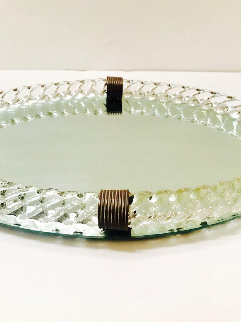 1940s Oval Murano Glass Rope and Mirrored Vanity Tray by Venini For Sale 1