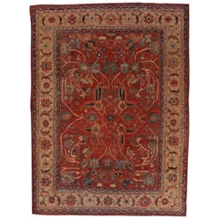 1940s Oversized Antique Sultanabad Persian Rug with Red and Black Floral Motif