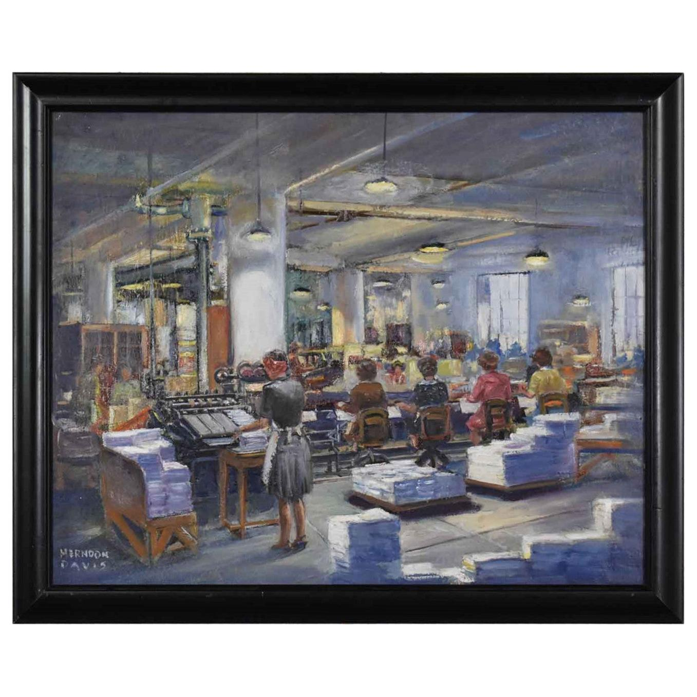 1940s Painting by Colorado Artist Herndon Davis of Industrial Interior