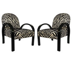 1940s Pair Art Deco Black Lacquered & Zebra Print Lounge Chairs