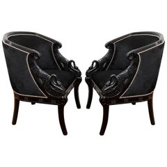 1940s Pair Neoclassical Lacquered Carved Swan Side Chairs
