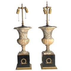 1940s Pair of Adjustable Marble Table Lamps with Wreath Motif Bases