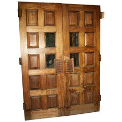 1940s Pair of Antique 8-Panel 2 Lite Carved Wood Tall Swinging Doors