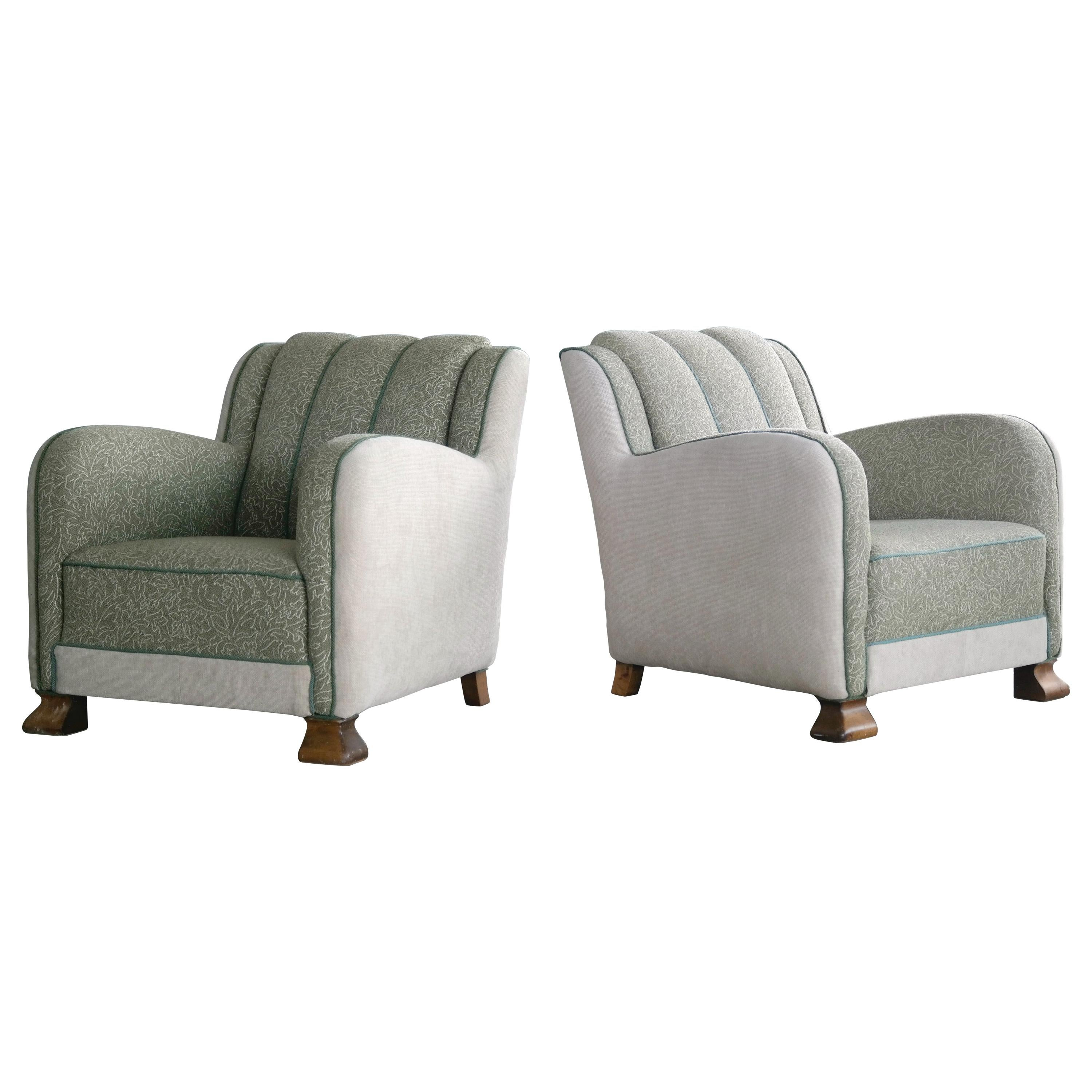 1940s Pair of Art Deco Large-Sized Danish Club Chairs in Style of Fritz Hansen