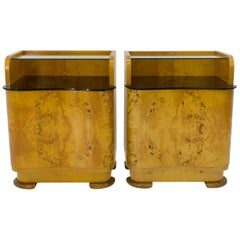 1940s Pair of Bedside Tables by Halabala for UP Zavody, Czechoslovakia