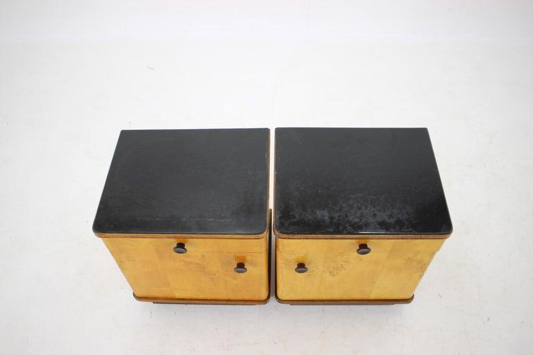 Art Deco 1940s Pair of Bedside Tables, Czechoslovakia For Sale