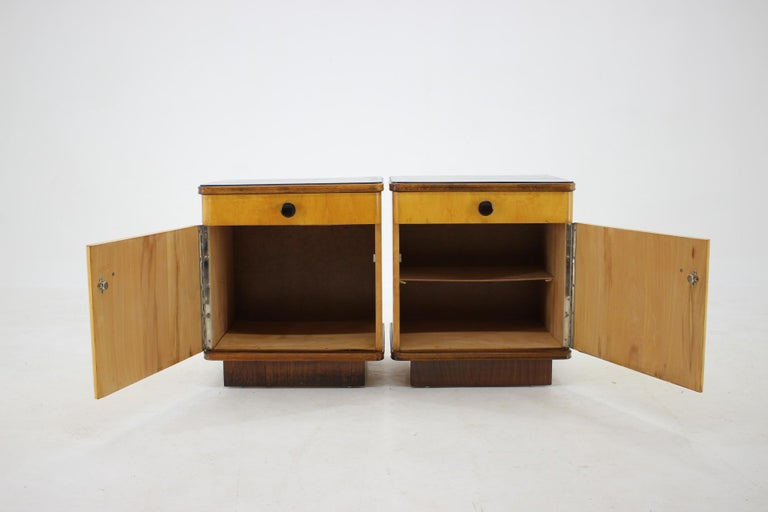 Wood 1940s Pair of Bedside Tables, Czechoslovakia For Sale