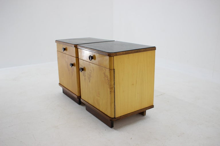 1940s Pair of Bedside Tables, Czechoslovakia For Sale 1
