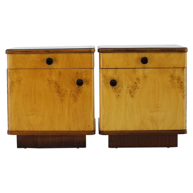 1940s Pair of Bedside Tables, Czechoslovakia For Sale