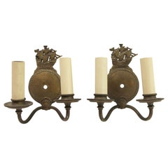 1940s Pair of Bronze Double Arm Nautical Wall Sconces with Sailing Ship Galleons