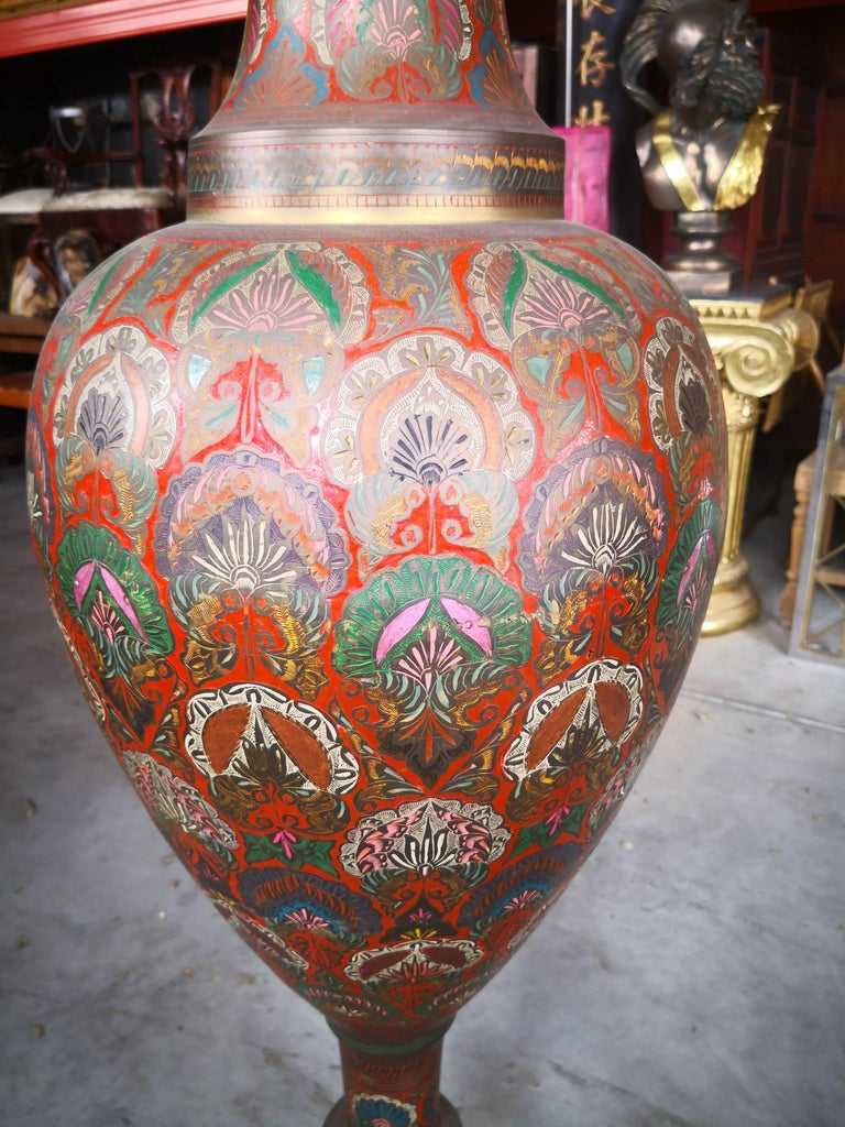 Asian 1940s Pair of Bronze Polychrome Enameled Vases For Sale