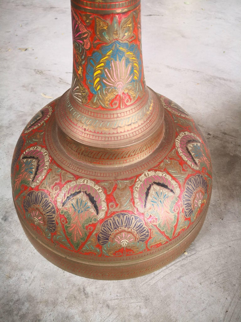 1940s Pair of Bronze Polychrome Enameled Vases For Sale 3