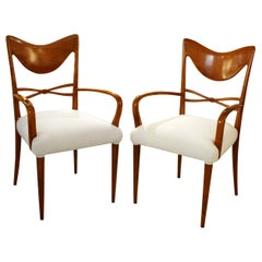 1940s Pair of Carvers Side Chairs Italian Design by Osvaldo Borsani Cherrywood
