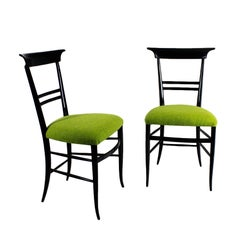 1940s Pair of Chairs, Stained Mahogany, Green Wool, Italy