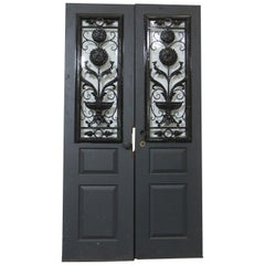 1940s Pair of Doors with Beveled Glass and New Wrought Iron Window Guards