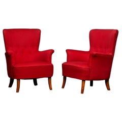 1940s, Pair of Easy Club Lounge Chairs by Carl Malmsten for Oh Sjögren