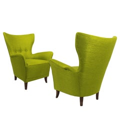 1940s Pair of Flared Back Armchairs, Wood, Anise Green Fabric, Italy