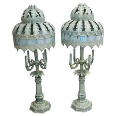 1940s Pair of French Blue Table Lamps with Slag Glass
