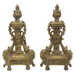 1940s Pair of French Bronze Torch Andirons with Iron Dog Legs