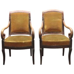 1940s Pair of French Empire Armchairs with Carved Wood Scrolling Arms